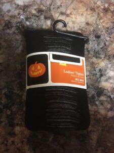 Ladies Black Sheer Halloween Tights Size M/L