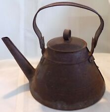 ANTIQUE Country PRIMITIVE Tin Tole Teapot Weld Marks