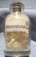 1 x 5 MM BOTTLE OF SMALL  GEMSTONES MOONSTONE WITH CORK STOPPER
