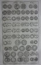Antica STAMPA ORIGINALE, Sassone monete, NUMMI saxonici II, Camden'S Britannia, 1772