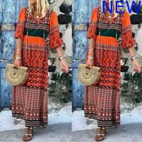 Boho Casual Party Long Sleeve Evening Maxi Womens Dresses Cocktail Dress O Neck