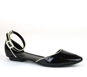 New Authentic GIORGIO ARMANI Patent Leather Flats 36/US 6 Black XGDB63