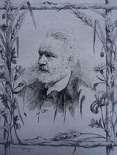 Frédéric REGAMEY (1849-1925) GRAVURE ORIGINALE PORTRAIT VICTOR HUGO ROMANTISME
