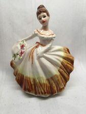 """Vtg Lefton Ceramic Southern Belle Brown Dress Hat  6"""" Planter 5679 Bloomers C13"""