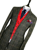LUXURY MENS HACKETT LONDON LORO PIANA CHECK HEAVY TWEED OVERCOAT COAT JACKET 40R