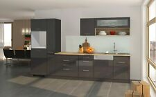 Küchenblock ohne Geräte Einbauküche ohne Elektrogeräte Küchenzeile 330 cm grau