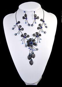 Set 2 Tlg Kette Ohrringe Schmuckset Halskette Strass Braut Filigrann Paris Blau