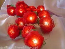 Red Rose & Green Leaf Fairy Light String 110V or 220V Mains Plug. 20 Roses