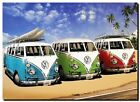 "VW Camper Combi Van Retro QUALITY CANVAS ART PRINT poster 16""X 12"""
