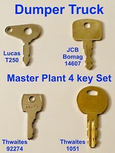 4 Key Master Plant Dumper Truck Set for Lucas Thwaites JCB Bomag Terek Benford