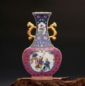 Yongzheng Vase Ceramic Enamel Jar Gilt Pororcelain Chinese Antique Reproduction