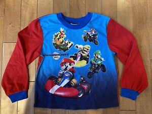 Super Mario Kart Nintendo Wii Pajama Top Shirt Size 8 Blue Red Luigi Bowser