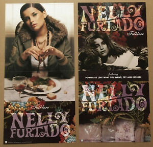 NELLY FURTADO Rare 2003 DOUBLE SIDED PROMO POSTER FLAT of Folklore CD 12x24 MINT