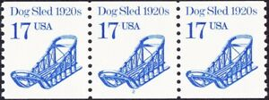 US - 1986 - 17 Cents Bright Blue Dogsled Transportation # 2135 PNC3 Plate #2 NH
