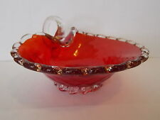 Vintage Antique Collectable Retro Murano Ruby Aventurine Art Glass Bowl Handle