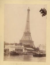 France, Paris, Eiffel Tour  Vintage albumen print.  Tirage albuminé  11x16