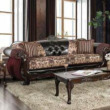 Traditional Antique 2pc Sofa Set Burgundy Leatherette Intricate Wood Trim Couch