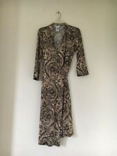 GEORGE STRETCH LADIES WRAP TIE BROWN FLORAL Shift TUNIC SEXY DRESS SIZE 8/10