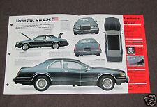 1984-1992 LINCOLN MK VII LSC Car SPEC SHEET BROCHURE PHOTO BOOKLET
