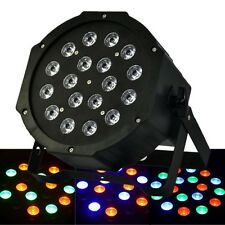 PAR RGB 18 LED X 1W DMX  DISCOTECA FESTA DISCO MULTICOLORE WASH STROBO FARO TOP