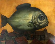 Fish, Original oil Painting, Handmade art, Surrealism, One of a Kind