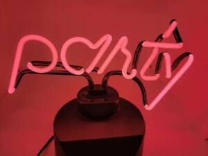 LED Neon Sign Light Pink PARTY Table Lamp Home Pub Party Art Decor