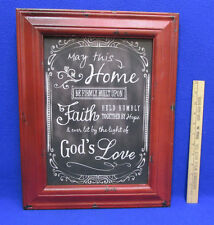 Primitive Rustic Wall Hanging Sign Picture Home Built on Faith Hope & Gods Love
