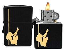 Zippo Lighter 24892 Black Matte Girl On Pole Dancer Classic NEW