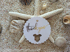 10 Kraft White Gift Favour Tags Baby Shower Bomboniere Thank you Gold Foil
