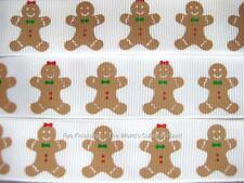 GINGERBREAD BOY AND GIRL 7/8 INCH-5 YARDS RIBBON (really cute ribbon)