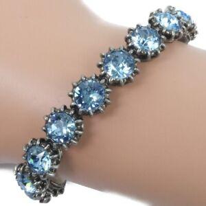 GUCCI Ble Rubbed T Cuff Bangle light blue/Silver Silver/Light blue stone u...