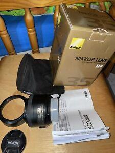Nikon Nikkor DX AF-S 35mm 1:1.8 G Lens With HB-46 Lens Hood, Box