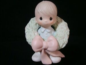 Precious Moments-Boy Wearing Christmas Wreath-Surrounded With Joy-Retired 1989