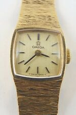 Omega Ladies 9carat solid gold integral bracelet manual wind wrist watch Working