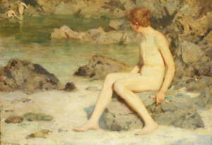 Henry Scott Tuke Cupid and Sea Nymphs Poster Reproduction Giclee Canvas Print