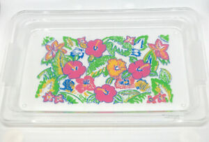 VTG Clear Plastic Pink & Yellow Hibiscus Hawaiian Floral Serving Tray Flowers