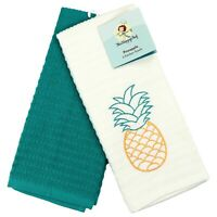 Kitchen Dish Towel Set of 2 - 16 x 26 - Embroidered Pineapple Pattern - Cotton