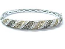 Natural Multi Color Brown & White Diamond White Gold Bangle Bracelet 3.00Ct 14Kt