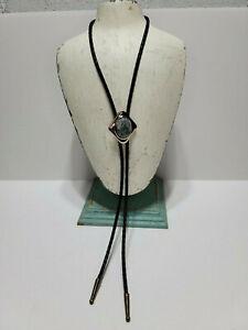Natural Stone Leather Silver Tone Western Bolo Tie