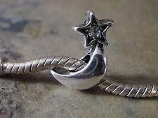 Bead Element Mond mit Stern Strass Farbe Antiksilber Silber für Armband 1136