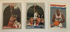 1990-91 NBA Hoops 3 Card Michael Jordan LOT - Base, Sam Vincent, USA Basketball