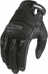 Icon Women's Twenty-Niner Leather/Textile Gloves CE Certified (Black) S (Small)