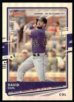 2020 Donruss Career Stat Line #140 David Dahl /500 - Colorado Rockies