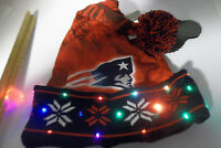 New England Patriots NFL LED Light up Winter Beanie knit stocking SANTA HAT Cap