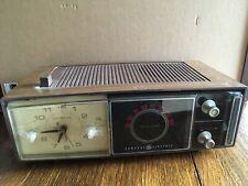 Vintage General Electric Alarm Clock Radio C-555A- Retro Wood  Mid Century AM