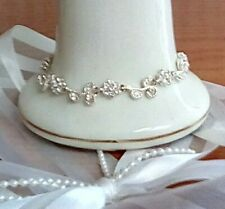 Silver Color, Good Condition Bracelet, Simulated Small Diamonds Flowers,