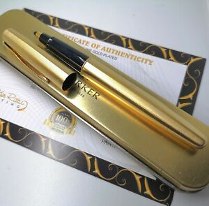 24ct Gold Plated Metal Parker Frontier Rollerball Writing Pen Gift Tin Ink 24k