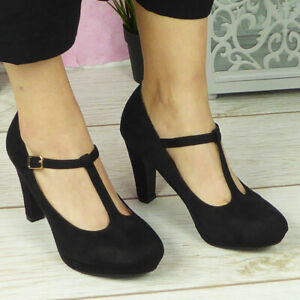 Ladies Court Shoes Platform T Bar Ankle Strap High Heel Buckle Boots Womens Size