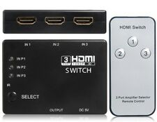 HDMI 3 Port Switcher Splitter Switch Hub with Remote for HDTV PS3 Sky Xbox 360