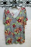 Como Vintage Knit Top Size 2X Multicolored Short Sleeve Scoop Neck